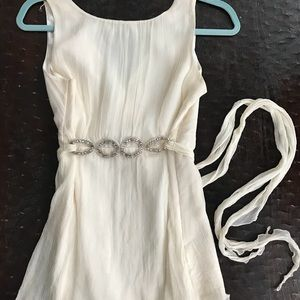 Tops - Elegant off white chiffon and satin tunic top